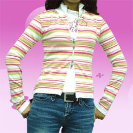 義大利米蘭REBELDE~橫條紋雙鍊長袖針織外套↘↘