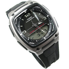 CASIO卡西歐 雙顯錶 方型 黑灰 鬧鈴 碼錶 倒數計時 世界時間 橡膠 37mm 男錶