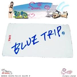 ~丹尼斯~夏日陽光沙灘°~╮EDWIN BLUE TRIP白色海灘巾╭ ~°
