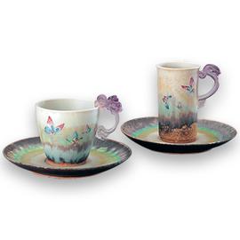 時尚琉璃~琉璃耳 陶藝咖啡杯【蝴蝶對杯】物品清單︰二杯二盤