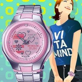 CASI 時計屋 卡西歐手錶 LCF~10D 動畫液晶雙顯女錶 不繡鋼錶帶 50米防水