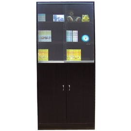 W122G2^(DW^)12格^~雙門 雙玻璃^~收納櫃 書櫃^~胡桃木色^~80公分寬
