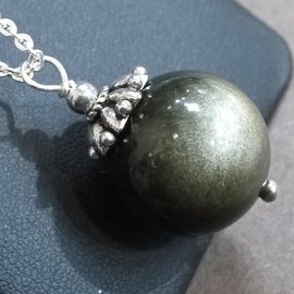 ~La luna 銀飾豐華~大顆18mm7A雙眼金曜石圓珠古典立體花蓋銀珠純銀墜子 P34