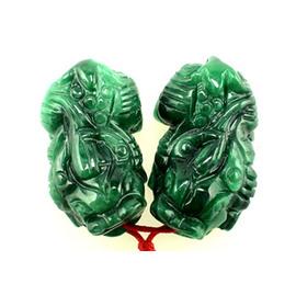 【妙音天女】《開運飾品》綠玉貔貅 掛飾 / 手機吊飾 加贈精美刺繡袋及五色線2條 ~貔貅前後有打洞,可以穿線,作為項鍊或手鍊佩帶