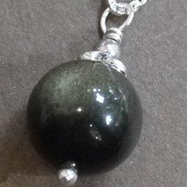 ~La luna 銀飾豐華~14mm5A雙眼金曜石圓珠古典立體花蓋銀珠純銀墜子 P3470