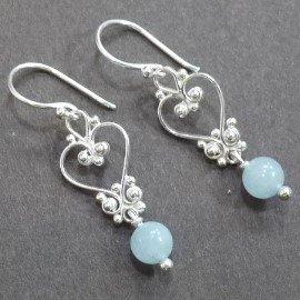 ~La luna 銀飾豐華~小巧精緻古典心形花紋海藍寶石純銀耳環^(E5748^)