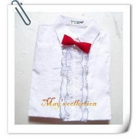 MAYS COLLECTION 花童純白襯衫 ^(短袖^) ^~ 附領結 尺寸有:100