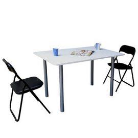 [120公分寬]大桌面-餐桌/工作桌+高背橋牌折疊椅(1桌2椅組)-TB80120B+ZF0170-2