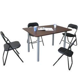 [120公分寬]大桌面-餐桌/工作桌+高背橋牌折疊椅(1桌4椅組)-TB80120B+ZF0170-4