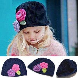 ~甜美 小花針織帽^(^(深藍色花朵^)^)