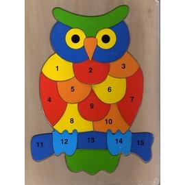 【精選認知玩具】木製貓頭鷹數字拼圖