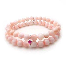 粉紅色貝殼雙串與鋯石隔片彈性手環