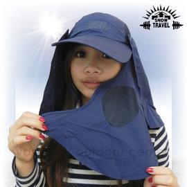 【VOSUN】最新可拆式抗UV肩頸防曬遮陽休閒帽(可調帽圍)/三用帽.防曬帽.遮陽帽.棒球帽(AH-41 深藍)