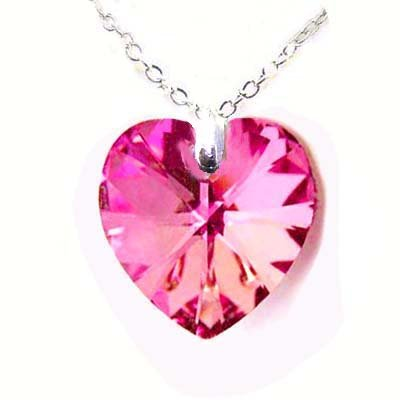 粉红色心型swaroski水晶纯银项鍊
