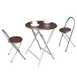 【愛家】[耐重型]圓形折疊桌椅組(一桌二椅)-二色可選-XR-079+2椅