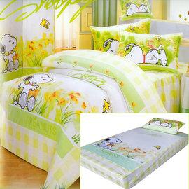 【花草史努比】單人二件式(薄)床包組(綠色)-D2S-S890G