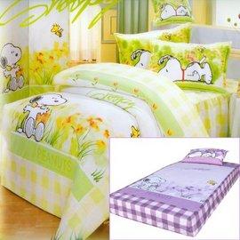 【花草史努比】單人三件式(薄)被套床包組(紫色)-D3S-S890P