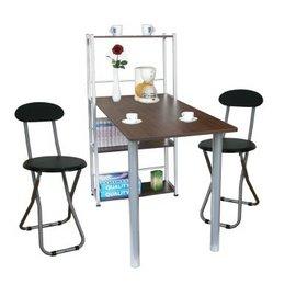 [60X120公分]4 層置物架型[一桌+兩椅]餐桌椅組(深胡桃木色)-TB60120T4C2-DW