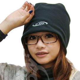 【LE ANA-加購】中性 雙面載保暖造型刷毛帽(長尾帽).可護耳當眼罩.秋冬時尚潮流/藍灰 /黑米