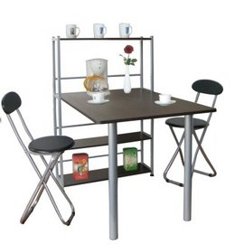 [80X120公分]4 層置物架型[一桌+兩椅]餐桌椅組(深胡桃木色)-TB80120T4C2-DW