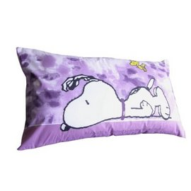 [SNOOPY]-大版面史努比卡通授權圖案-枕心+枕頭套組(1入組)含枕心PO4575PP-1[紫羅蘭色]