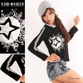 【韓國路子KR-LUZI】時尚圖騰連身帽長袖休閒T恤 C108-8929。大尺碼。流行女裝.連帽T恤