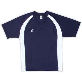 吸濕排汗短袖V領T恤^~ ~^~丈青色x白色