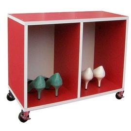 耐重型-(座椅式)鞋櫃(附四個工業輪)紅白色W402C4-RW