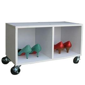 耐重型-(座椅式)鞋櫃(附四個工業輪)素雅白色W402C4-WH