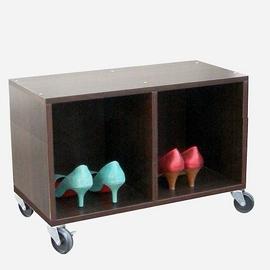 耐重型-(座椅式)鞋櫃(附四個工業輪)深胡桃木色W402C4-DW