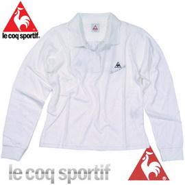 ~le coq sportif~法國公雞條碼圖樣 長袖POLO衫^(白色^)