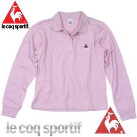 ~le coq sportif~法國公雞條碼圖樣 長袖POLO衫^(粉色^)