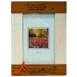 實木相框 4X6吋  雙色相框 音符烙印木製 (直) L570