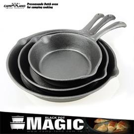【MAGIC】三件式套裝鑄鐵平底鍋組P086-IRON770A鑄鐵鍋.荷蘭鍋具.弧邊平底鍋.單手炒鍋煎鍋.露營休閒用品推薦那裡買