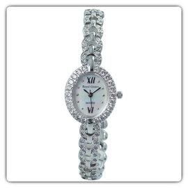 2100 山茶花形鑲鑽腕錶^(銀^) Royal Crown 腕錶 鑲鑽腕錶