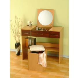 ~布拉格歐風傢俱~ 歐風掀蓋式化妝椅~胡桃色   收納椅 製 維多麗雅 化妝椅 白色美學