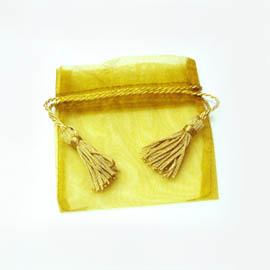 【花現幸福】9×9cm金喜流蘇紗袋7元  婚禮小物  紗袋  喜糖袋  送客禮
