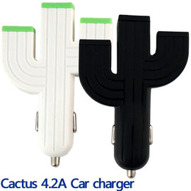 【免運、4.2A 3 USB】仙人掌車充/3孔車上充電器/車用充電轉換器/1A 1A 2.1A