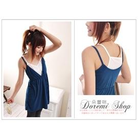 DY16~5日系假兩件式無袖高腰胸前抓皺細肩帶挖背娃娃裝長版上衣^(藍色^) ~朵蕾咪~