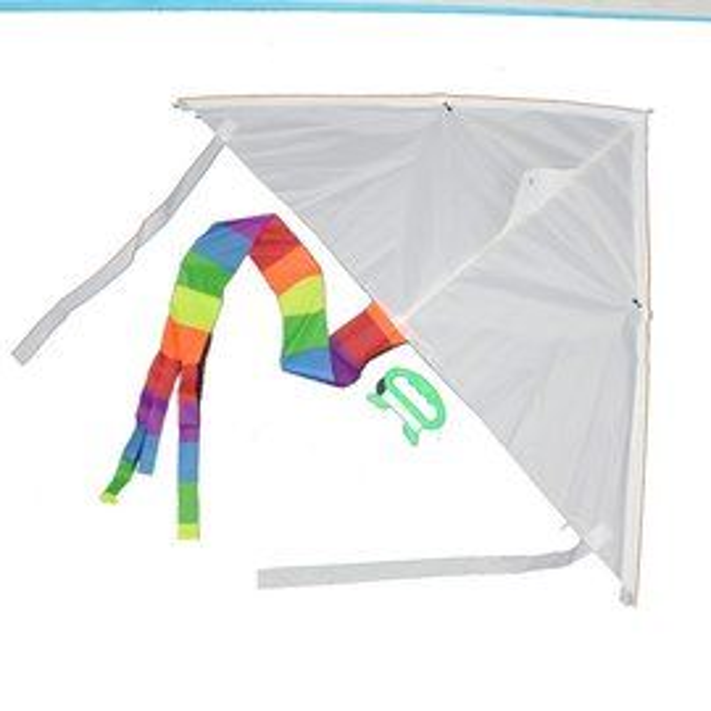 空白風箏 彩繪風箏 DIY風箏  ^(彩色尾巴^) 一袋10支入^~定40^~三角風箏^~
