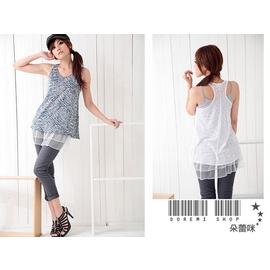 S1324甜美斑馬紋^~斑紋兩件式飄飄裙擺內搭長挖背背心^(白 黑 藍^) ~朵蕾咪~