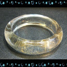 ~天然黃金絲鈦晶-髮晶寬厚版手鐲~清透款~~∼獨一無二的天然極品∼
