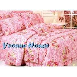 YvH Anna Cotton^~典雅花韻 粉色玫瑰 雙人3件式床包枕套組 100^%純棉