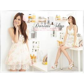 B2331~LENA甜美^~浪漫花朵編織肩帶雪紡兩件式V領洋裝 ~朵蕾咪~