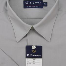 mustBUY ~加大 ~S17系列男性 素面短袖襯衫 S1704 淺灰色 ^(YN 男加