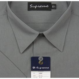 mustBUY ~加大 ~S17系列男性 素面短袖襯衫 S1708 深灰色 ^(YN 男加
