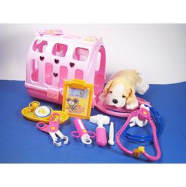 愛心粉紅小狗提籠+看護工具組...籠子會叫ㄛ/狗狗開學去/訓練小孩的責任感
