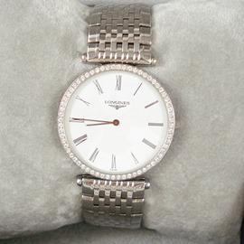 ~店內展示品~ LONGINES 浪琴錶 鍍金鑽石羅馬石英手錶 收藏品 割愛 價 68 0
