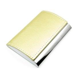 閃亮金屬殼名片盒 皮質弧面風格名片夾 不�袗�金屬效果底面 金屬盒絨面內襯隱藏式磁扣 F1