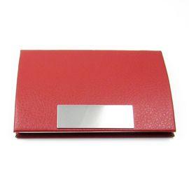 小弧面鋼牌皮夾式名片盒 皮質弧面風格名片夾 不�袗�金屬盒絨面內襯隱藏式磁扣 紅色